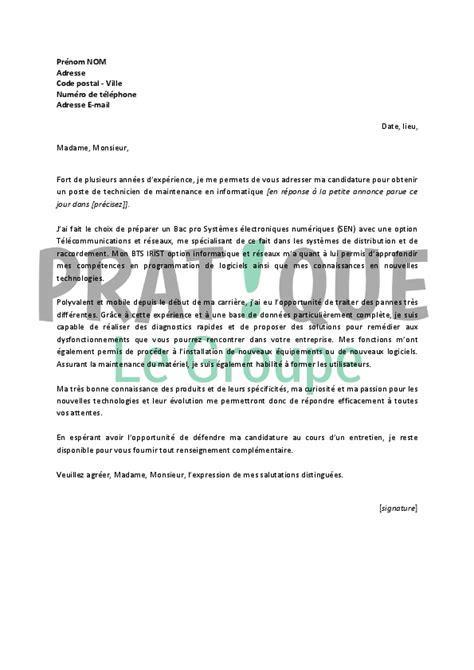 modele lettre de motivation technicien lettre de motivation pour un emploi de technicien de