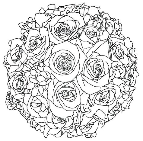Wedding Flowers Coloring Pages New Printable Flower Bouquet Coloring Pages Gallery