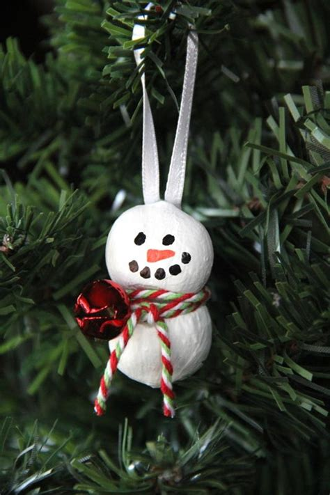 recycling ornament school prjuect ideas hazelnut snowman ornament allfreechristmascrafts