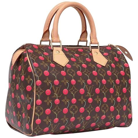 louis vuitton limited edition monogram cerises speedy  bag cherry print  stdibs