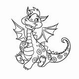 Dragon Drago Disegno Coloring Colorare Draghi Awesome Kawaii Bambini Mignon Printable Disegni Vectorielle Template Credit Larger Petit sketch template