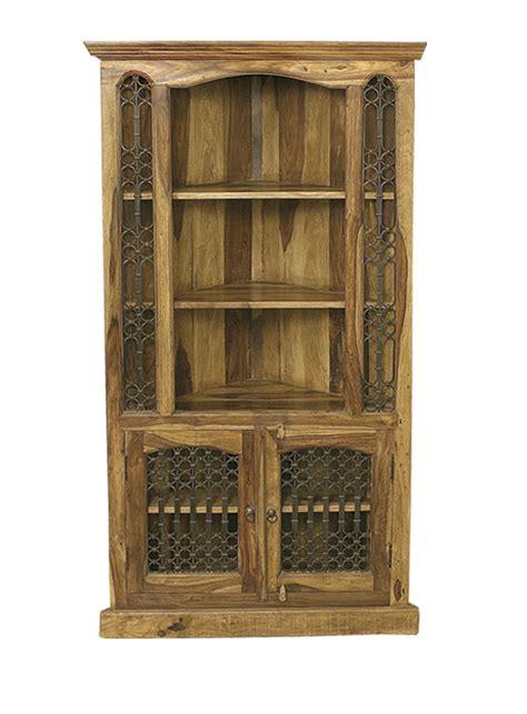 bali sheesham tall corner cabinet  shelves