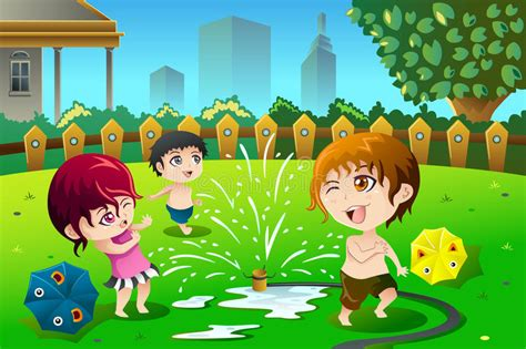 Children Playing With Sprinkler Water In The Summer Stock