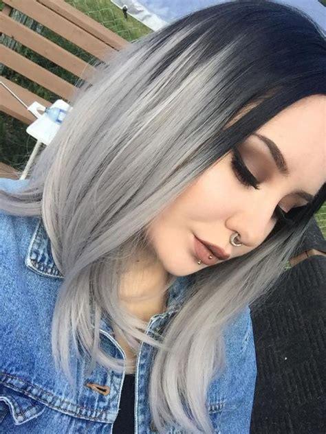 black  gray shoulder length bob style lace front wig