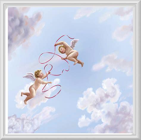 papier peint trompe oeil anges pour plafond ref fm2 ciel