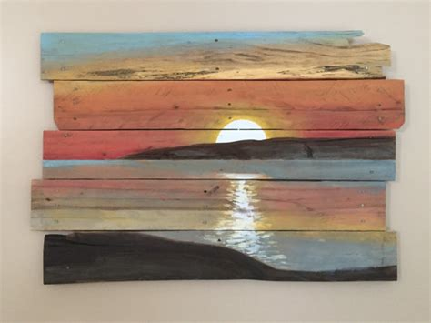 wood paint sunset on reclaimed pallet wood