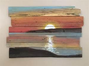 sunset on reclaimed pallet wood With what kind of paint to use on kitchen cabinets for how to make wood plank wall art