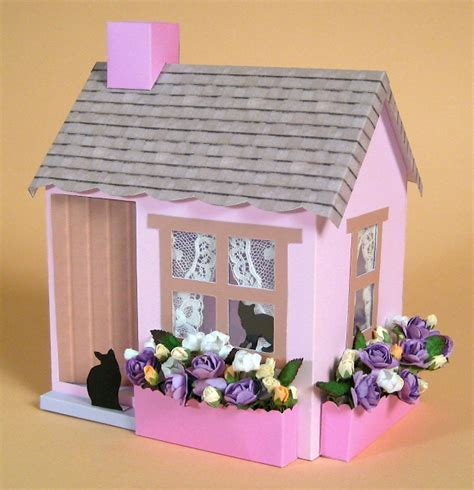A4 Card Making Templates For 3d Opening Cottage & Display