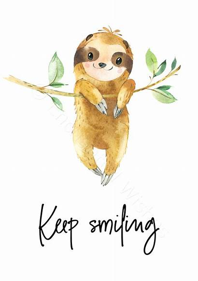 Sloth Smiling Keep Prints Quote Inspirational Wall