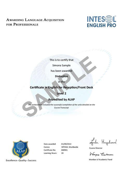 certificate  english  receptionfront desk uk