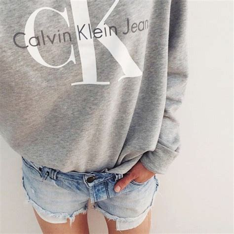 Top tumblr sweatshirt grey top shorts denim shorts blue shorts calvin klein - Wheretoget