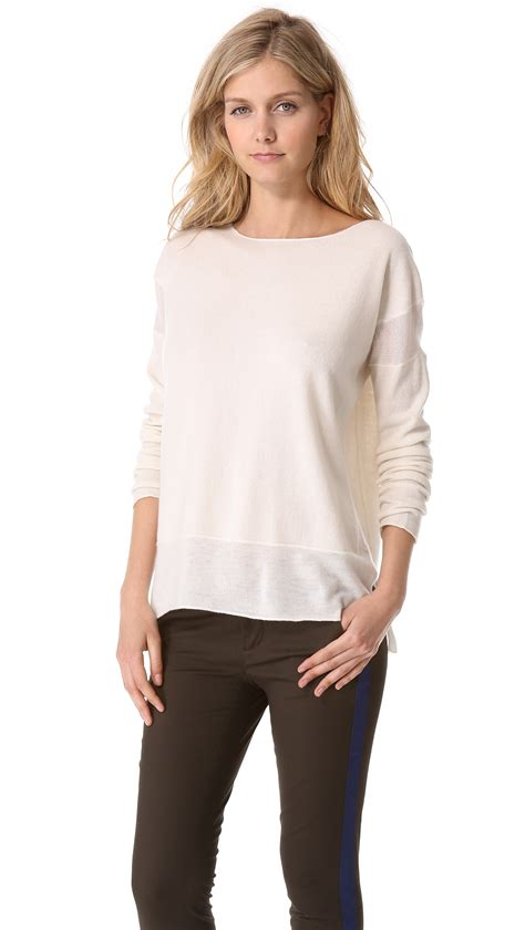 Boat Neck Cashmere Sweater by Vince Cashmere Boat Neck Sweater In White Lyst