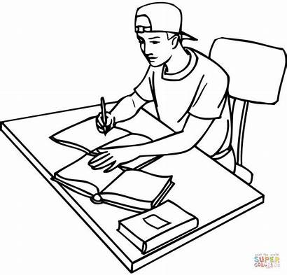 Coloring Studying Student Pages Books Teenager Drawing