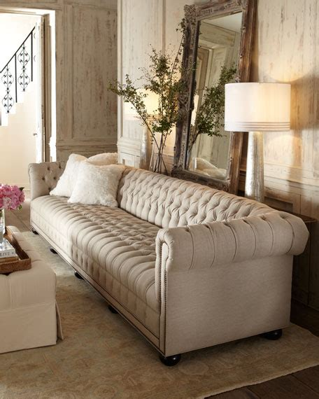 Linen Sofa by Hickory Tannery Hudson Tufted Linen Sofas And Loveseat