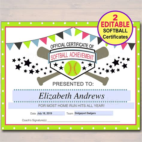 editable softball certificates instant  softball