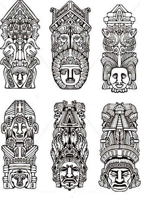 indian tribe totem poles coloring page netart