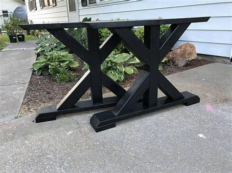 farmhouse trestle table legs  frame table legs wood