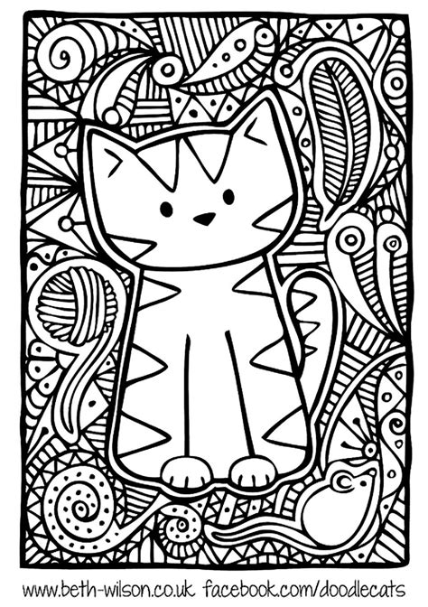 Free coloring page coloring adult difficult cute cat