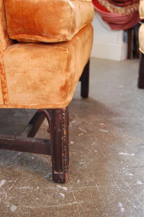 vintage orange velvet wingback chair ottoman the savoy