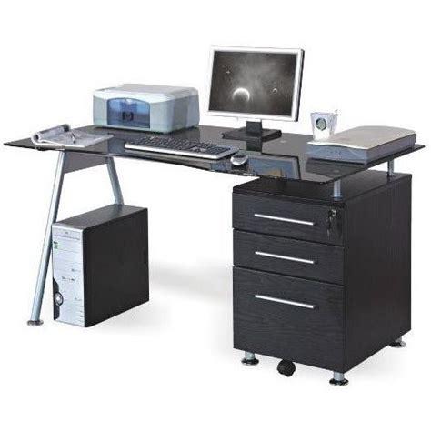 meuble bureau verre bureau table informatique nero noir verre achat