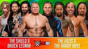 The Shield & Brock Lesnar vs. The Usos & The Hardy Boyz ...
