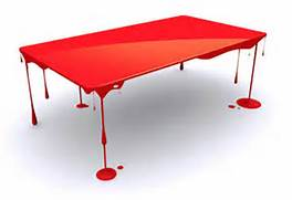 Cool Tables by Brilliant Blood Red Glossy Art Table Design