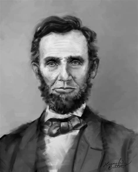 Abraham Lincoln Digital Painting Print Black and White ...