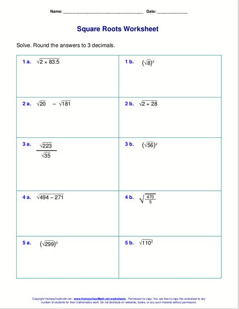 Free Square Root Worksheets (pdf And Html