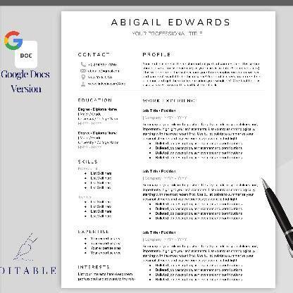 Google Docs RESUME TEMPLATE. CV template free ...