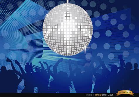 mirror ball disco night party vector