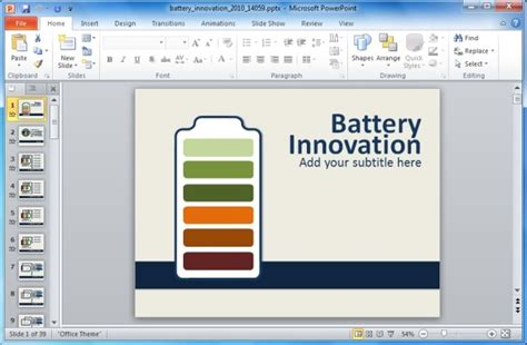 interactive powerpoint animated battery powerpoint template