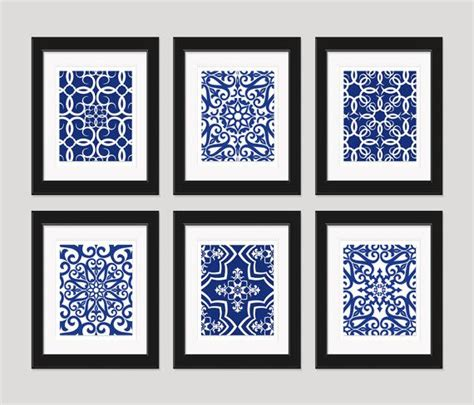 Royal Blue Bathroom Wall Decor by Navy Blue Blue White Wall Home Decor Set By
