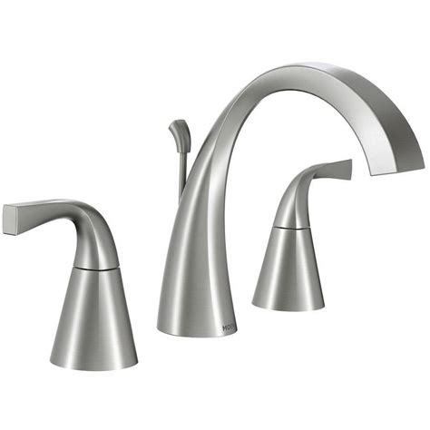 brushed nickel bathroom sink faucet shop moen oxby spot resist brushed nickel 2 handle