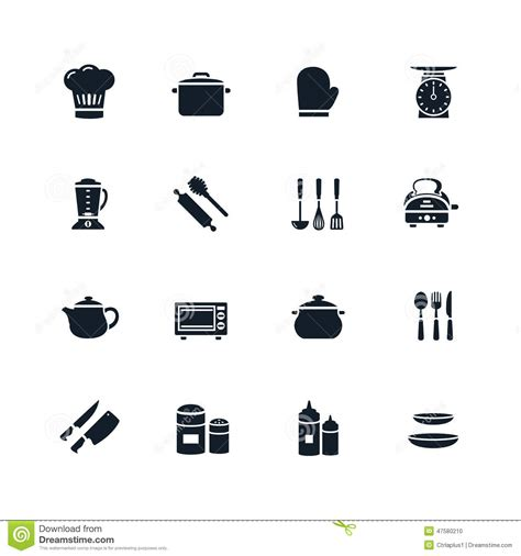 picto cuisine icône de vaisselle de cuisine illustration de vecteur