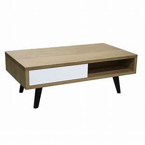 Table Basse Chene Blanchi : table basse 2 tiroirs vintage ch ne massif blanchi et laqu blanc 110x60cm pirotais ~ Melissatoandfro.com Idées de Décoration