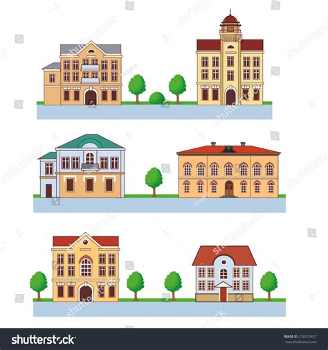 Town Colorful Houses Seamless Pattern Vector Stock Vector