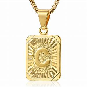 mens womens chain gold filled gf pendant necklace square With mens letter pendant