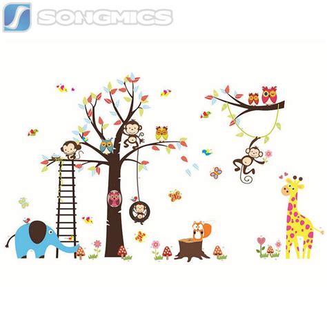 Wandtattoo Kinderzimmer Baum Tiere by Wandtattoo Kinderzimmer Deko Wald Sticker Tiere Baum Affe