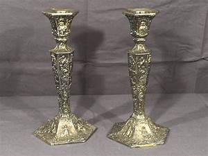 Vintage, Silver, Candle, Holders, 2, W, B, Mfg, Silver, Plate, Candlestick, Decorations, Collectible