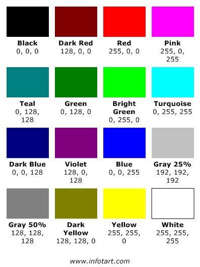 Microsoft Color Chart Palette