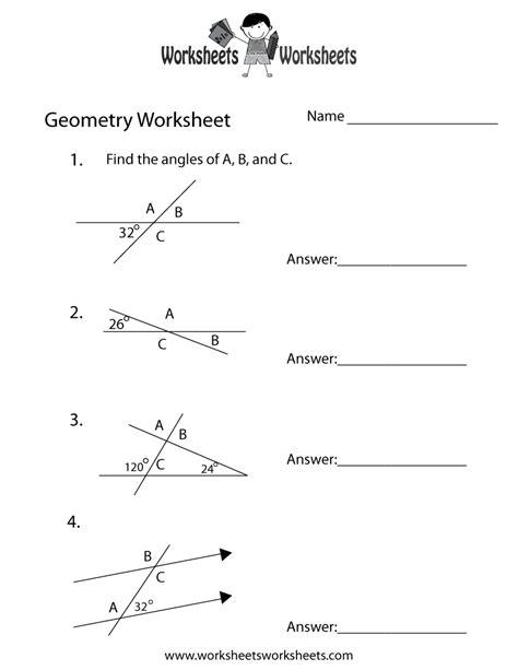 geometry angles worksheet  printable educational
