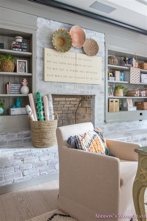 This post contains recommended product links. My Whitewashed Brick Walls Basement Home Office Reveal w/ Decorating Ideas!