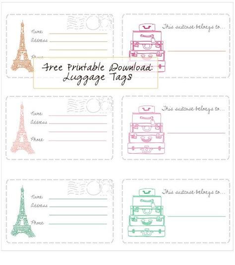 printable luggage tags  honor  design
