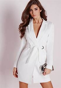 petite d ring blazer dress white missguided With robe blazer blanche