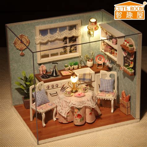 New Dollhouse Miniature Diy Kit With Cover And Led Wood