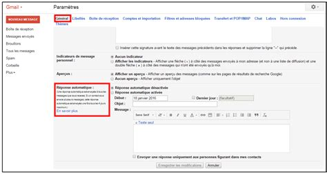 exemple message absence bureau créer un message automatique en cas d absence avec gmail