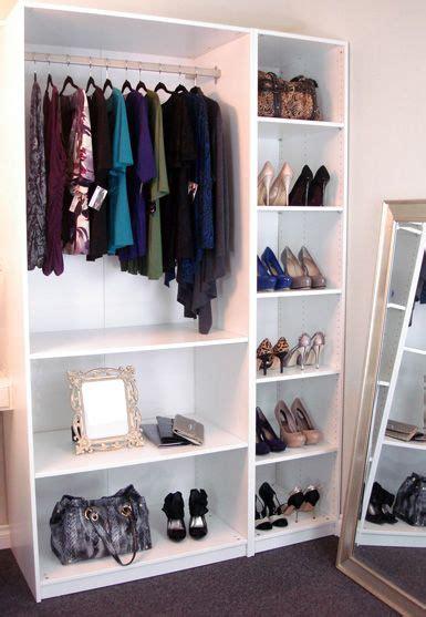 diy wardrobe  ikea shelves smaller version  dress