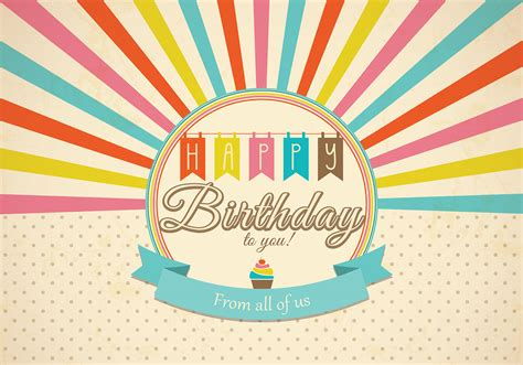 Retro Happy Birthday Card Vector Download Free Vectors