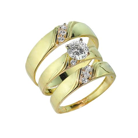 3 piece gold cz wedding ring set engagement ring