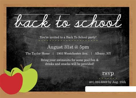 Chalkboard style invitations perfect for a back to